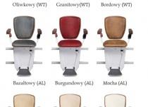 Linia Exclusive krzesełka schodowego Alfa oferuje aż 9 różnych kolorów tapicerki