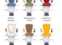 Kolory tapicerki dostępne w linii Premium krzesełka schodowego Alfa